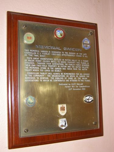 Fairley Memorial Plaque : 13-June-2014