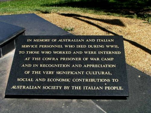 Cowra Australian Italian Friendship Memorial Inscription Plaque