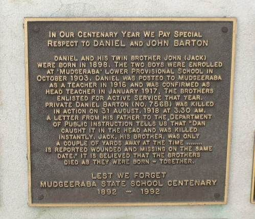 Daniel & John Barton Plaque / March 2013