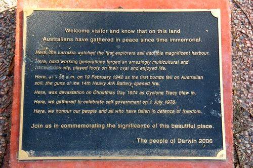 Darwin Commemorative Place Plaque/ May 2013