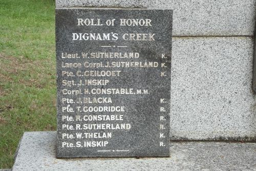 Dignams Creek Honour Roll : November 2013