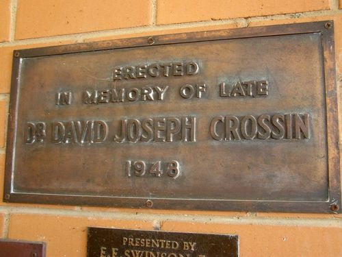 Dr Crossin Plaque : 28-July-2014