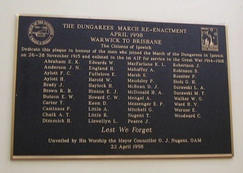 Dungarees March Reenactment Plaque