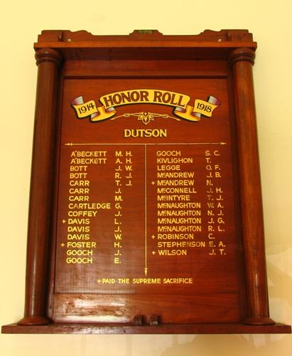Dutson Honour Roll World War One : 13-December-2011