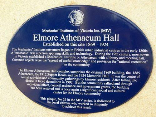 Elmore Athenaeum Hall Plaque : 22-04-2014