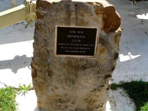 Esk Diggers Memorial Club Inscription