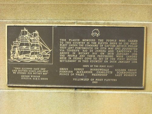 First Fleet Plaque Inscription