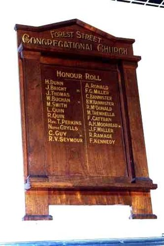 Forest Street Congregational Honour Roll08 Nov 2009