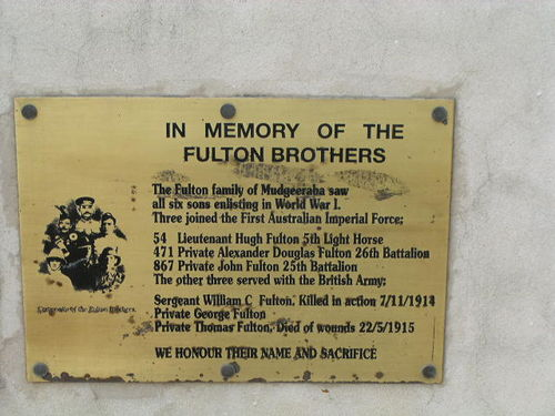Fulton Brothers Plaque / March 2013