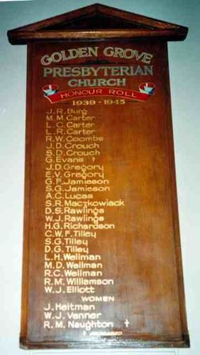 Golden Grove Presbyterian Church World War Two Roll of Honour : 09-July-2012