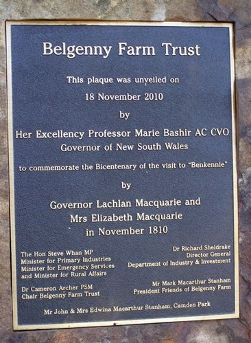 Governor Macquarie Visit Plaque : 14-June-2014