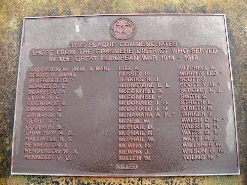 Grassmere War Memorial : 16-July-2011
