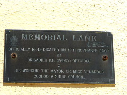 Memorial Lane Plaque