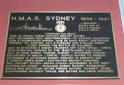 HMAS Sydney Plaque