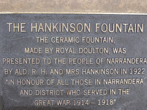 Hankinson Fountain Plaque : 04-August-2014