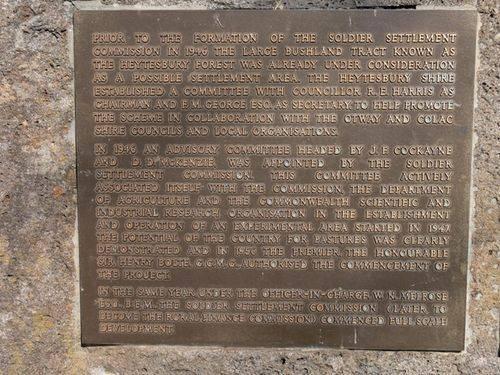 Heytesbury Settlement Memorial : 21-April-2012