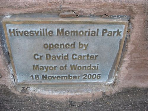 Hivesville Memorial Park Plaque  : 29-06-2009
