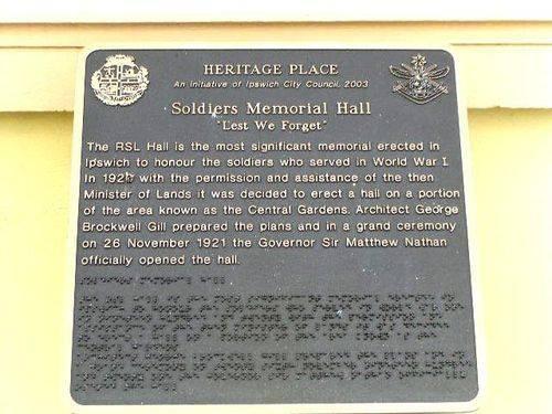Ipswich Soldiers Memorial Hall Historical Plaque