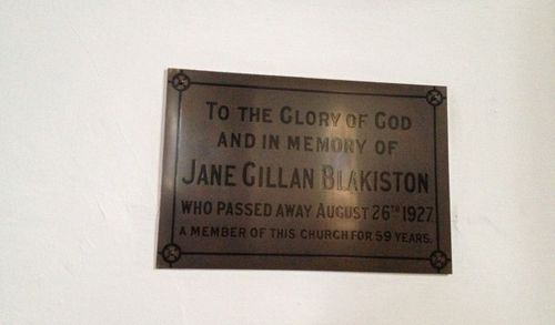 Jane Blakiston Plaque : December 2013