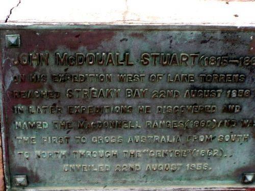John McDouall Stuart Plaque