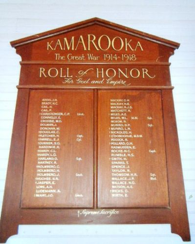 Kamarooka World War One Honour Roll : 11-March-2013