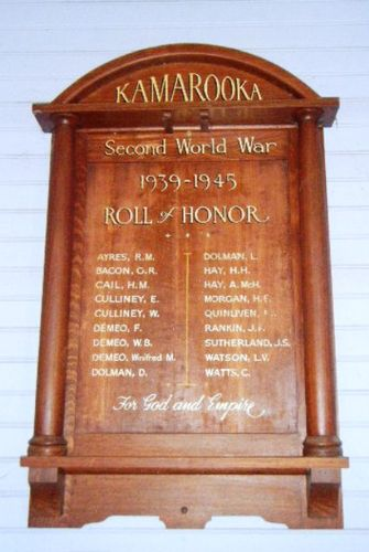 Kamarooka World War Two Honour Roll : 11-March-2013