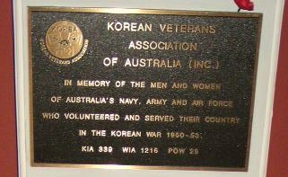 Korean Veterans Association Plaque