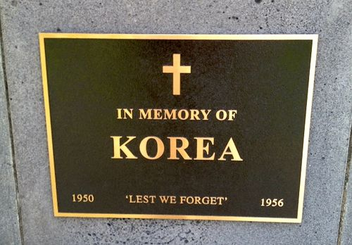 Korean War Plaque : November 2013