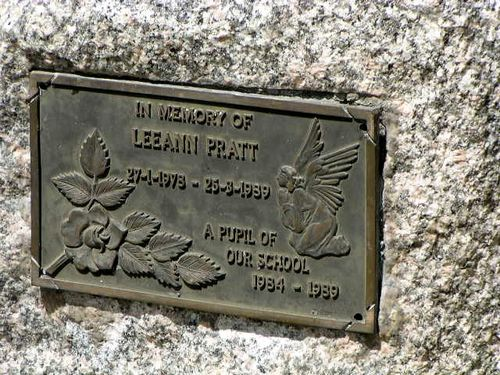 Leeann Pratt Memorial Inscription Plaque