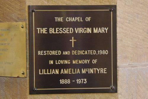 Lillian McIntyre Plaque : August-2014
