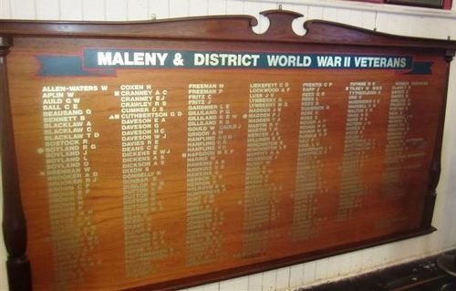 Maleny and District Veterans Roll of Honour : 03-08-2013