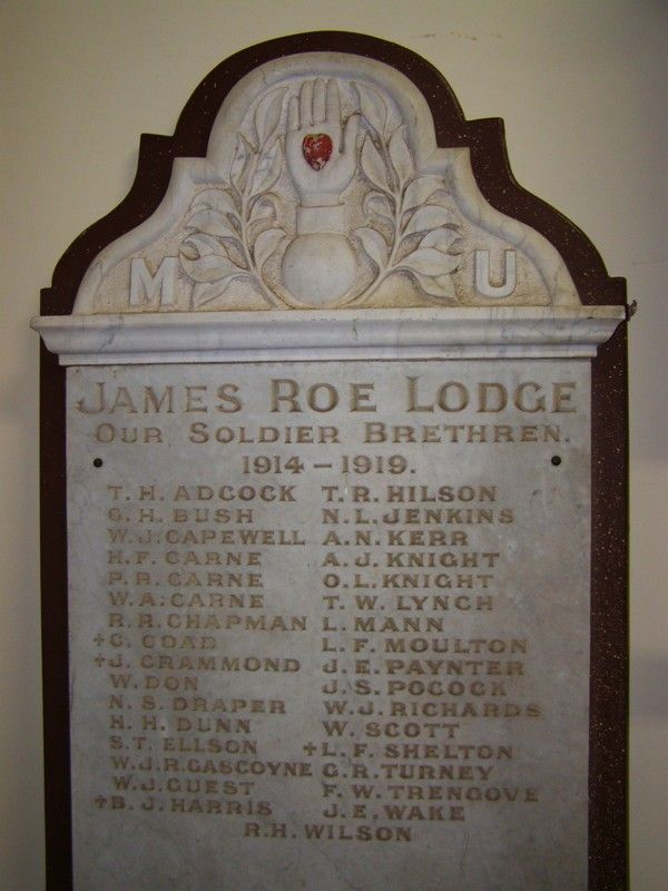 M.U. James Roe Lodge Honour Roll : 23 - October-2014