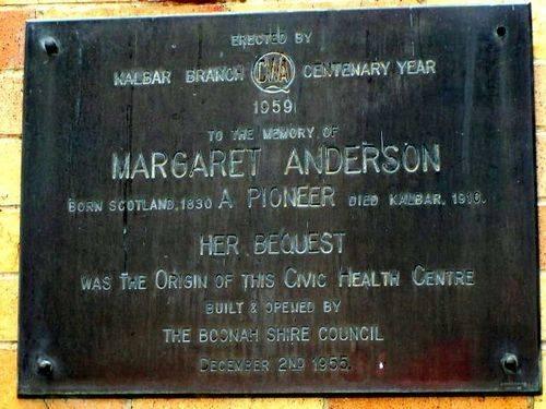 Margaret Anderson Plaque