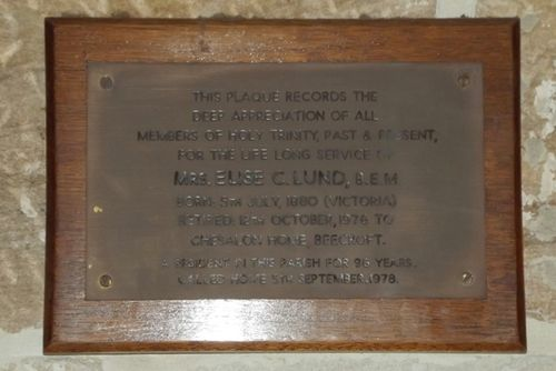 Elise Lund Plaque : March 2014