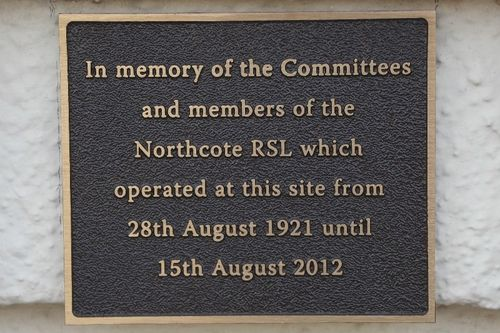 Northcote RSL Plaque : July-2014
