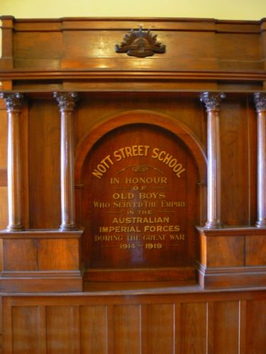 Nott Street School Honour Roll World War One