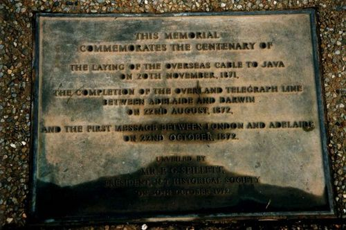 Overland Telgraph Memorial  Inscription
