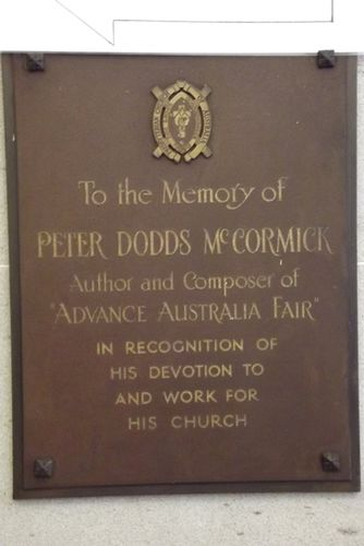 Peter Dodds McCormick Plaque : April 2014