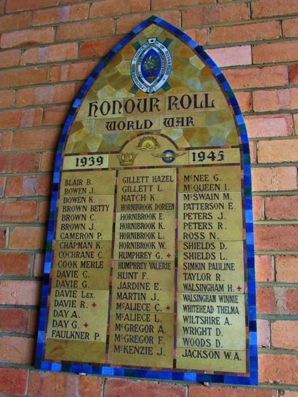 Pioneers+96 Presbyterian Church Honour Roll