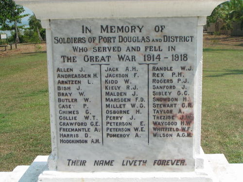 Port Douglas War Memorial Inscription