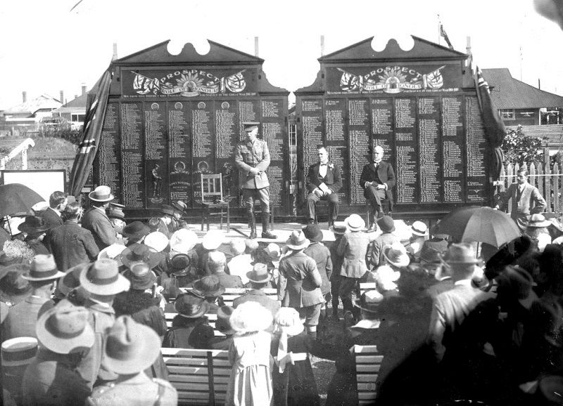 1919 : Sir Henry Galway, Governor of South Australia addressing spectators during the cere