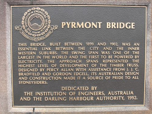 Pyrmont Bridge Plaque