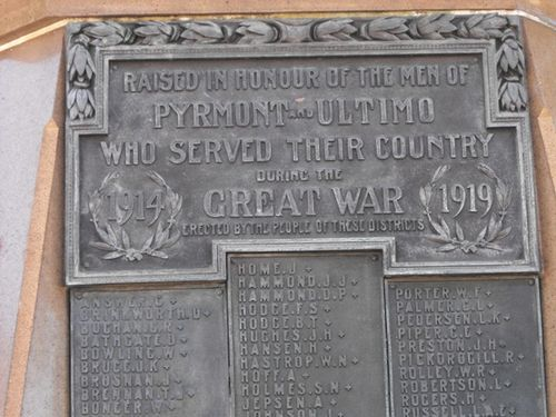Pyrmont War Memorial Inscription/April 2013