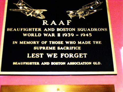 RAAF Beaufighter + Bostons Squadrons Plaque