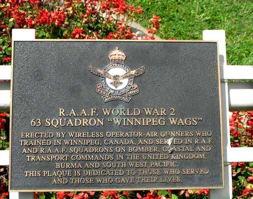 R.A.A.F WW2 Winnipeg Wags Plaque / March 2013