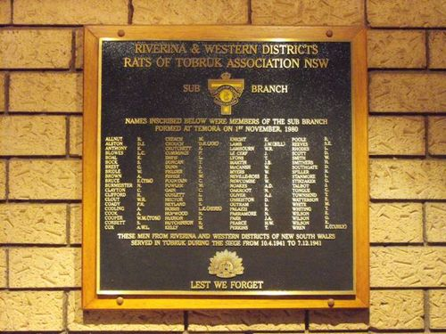 Rats of Tobruk Association Honour Roll