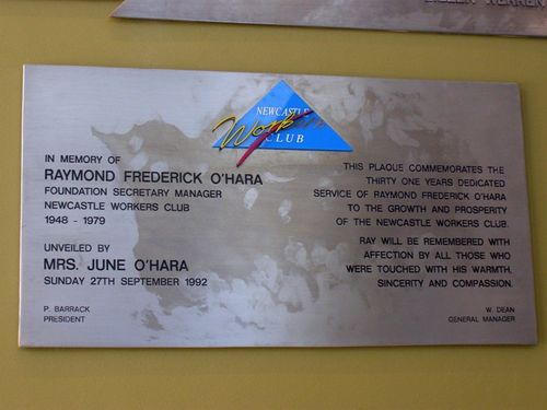 Raymond O`Hara Plaque : 31-August-2014