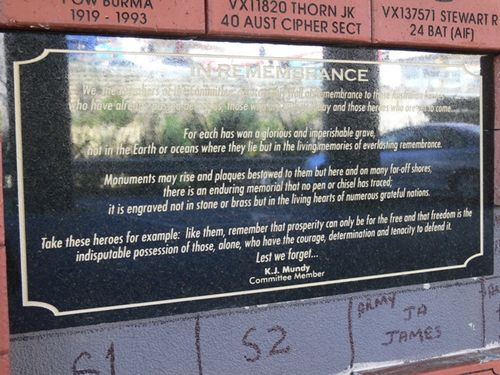 Returned Services League Memorial Wall : 13-August-2012