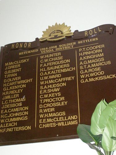 Soldier Settlers Honour Roll : 27-03-2014