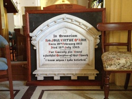 Reverend McNair Memorial Tablet : November 2013